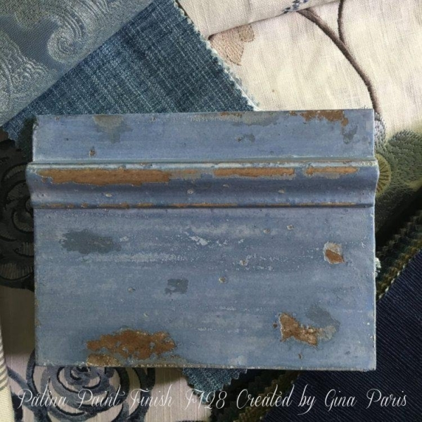 Blue painted sample board created by online student of the FARRAGOZ Patina FINISHES Course