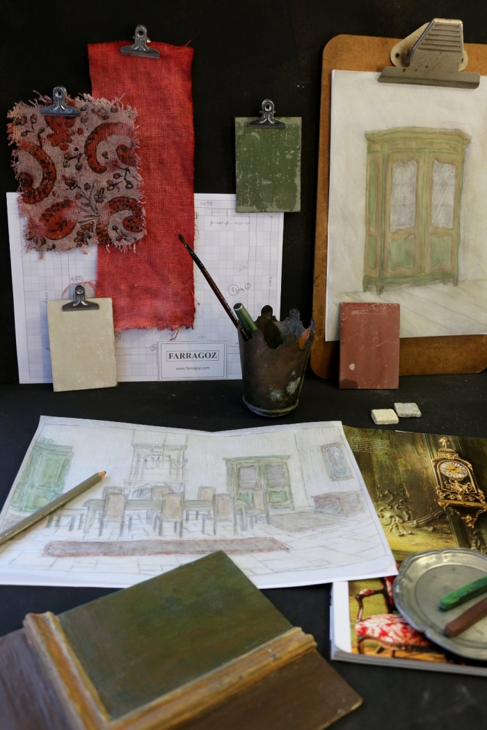 Green and red moodboard for FARRAGOZ Patina DECOR Couse