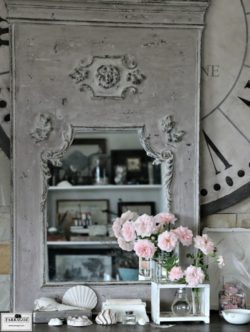 Grey and taupe handmade trumeau mirror and large clock face made using traditional paint recipes.